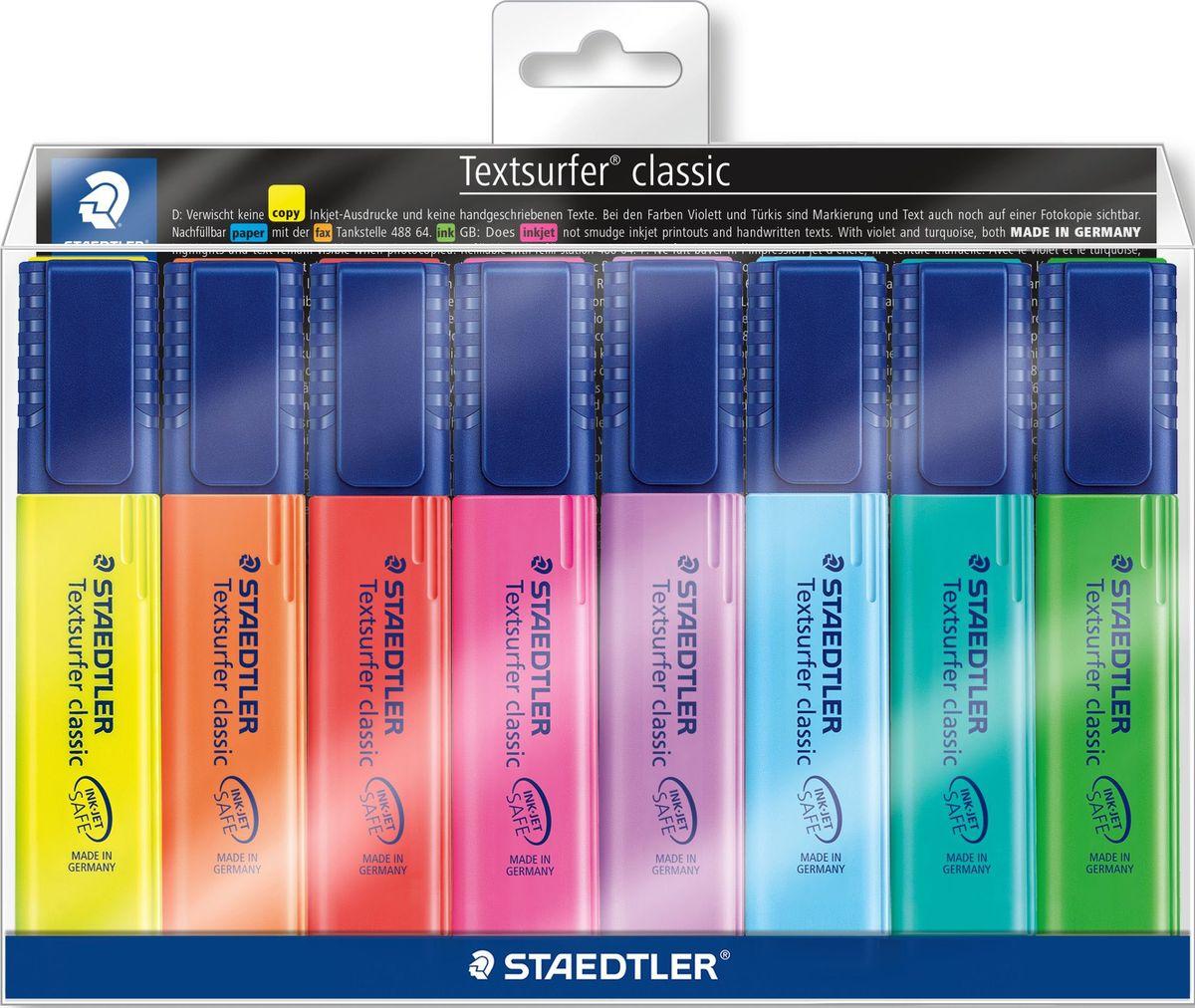 Staedtler Набор текстовыделителей Сlassic 364 8 цветов364WP803Набор текcтовыделителей Staedtler Сlassic 364 из 8 цветов подходит для копирования, для работы на бумаге, факсовой бумаге и копиях. Каждый текстовыделитель имеет скошенный пишущий узел и ультрамягкую кисточку. Большой объем чернил для экстра долгой службы. Быстро высыхает, слабый запах. Безопасно для струйных принтеров - не смазывает распечатки и написанный текст. Корпус и колпачок из полипропилена гарантируют долгий срок службы.Безопасно для самолетов - автоматическое выравнивание давления предотвращает от вытекания чернил на борту самолета.