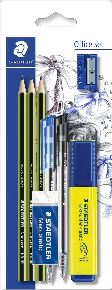 Staedtler Канцелярский набор 8 предметов60BK-4В набор входит 8 предметов: 2 шариковые ручки-автомат синего и черного цветов, 3 чернографитовых карандаша, текстовыделитель желтого цвета, ластик, точилка.Набор содержит самые необходимые для учебы канцелярские принадлежности. Текстовыделитель с большим объемом чернил для экстра долгой работы не смазывает распечатки и написанный текст. Ластик Mars plastic, изготовленный из термопластического синтетического гипоаллергенного каучука, прекрасно удаляет графит с бумаги и чертежной кальки, не оставляет крошек. Пластиковая точилка с металлическим лезвием обеспечит лёгкое равномерное затачивание карандашей (угол заточки 23°). Три высококачественных шестигранных заточенных карандаша, твердость HB, имеют особо прочный грифель, устойчивы к поломке. Корпус карандашей изготовлен из инновационного, однородного материала Wopex (70% древесины + пластиковый композит), что обеспечивает исключительно гладкую и ровную заточку. Также в наборе имеются 2 шариковые ручки-автомат синего и черного цветов. Производитель Stadtler (Германия).