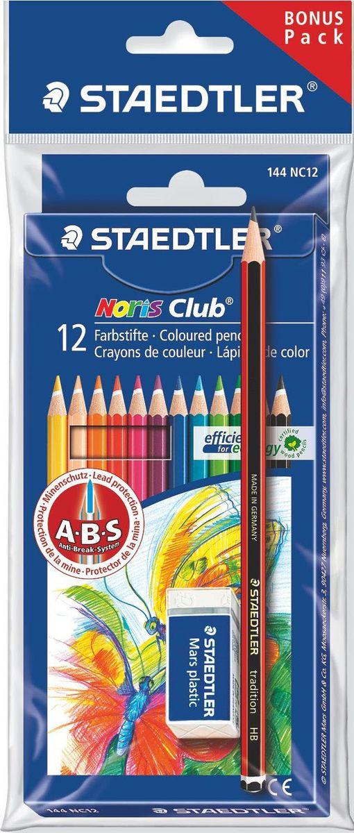 Staedtler Набор цветных карандашей Noris Club 144 NC 12 цветов с ластиком 61SET510 -  Карандаши