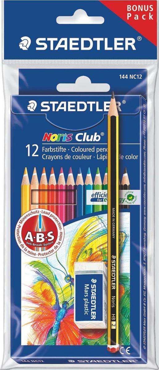 Staedtler Набор цветных карандашей Noris Club 144 NC 12 цветов с ластиком 61SET610 -  Карандаши