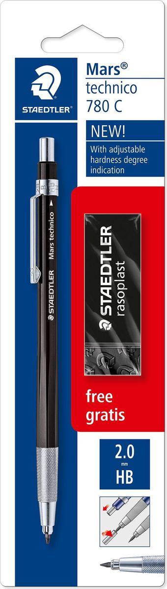Staedtler Карандаш механический Mars 780 HB с ластиком780CBKP6Цанговый карандаш 780 серии в черном корпусе. Черный цвет. Твердость грифеля - HB. Для грифелей 2 мм. С металлическим клипом, нажимной кнопкой и зоной захвата. Встроенная точилка в нажимной кнопке. Предназначен для черчения, рисования и письма. В блистере + черный ластик - бесплатно.
