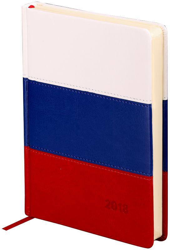 OfficeSpace Ежедневник 2018 Flag датированный 176 листов цвет красный синий белый формат A5Ed5v_12871Датированный ежедневник OfficeSpace Flag имеет обложку, изготовленную из высококачественного кожзаменителя с поролоновой прослойкой, цвет обложки - триколор. Подходит для всех видов полиграфического тиснения. Внутренний блок состоит из 176 листов офсетной бумаги плотностью 70 г/м2, печать блока в 2 краски, справочный материал. На форзацах географические карты России и Мира. Удобная закладка-ляссе и перфорированные уголки.Формат A5.