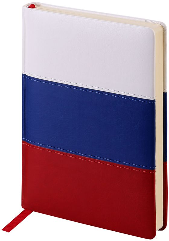 OfficeSpace Ежедневник Flag недатированный 160 листов в линейку цвет красный синий белый формат A5En5v_12873Ежедневник недатированный формата А5 из коллекции Flag. Обложка изготовлена из высококачественного кожзаменителя с поролоновой прослойкой, цвет обложки - триколор. Подходит для всех видов полиграфического тиснения. Внутренний блок состоит из 160 листов офсетной бумаги плотностью 70 г/м2, печать блока в 2 краски, справочный материал. На форзацах географические карты России и Мира. Удобная закладка-ляссе и перфорированные уголки.