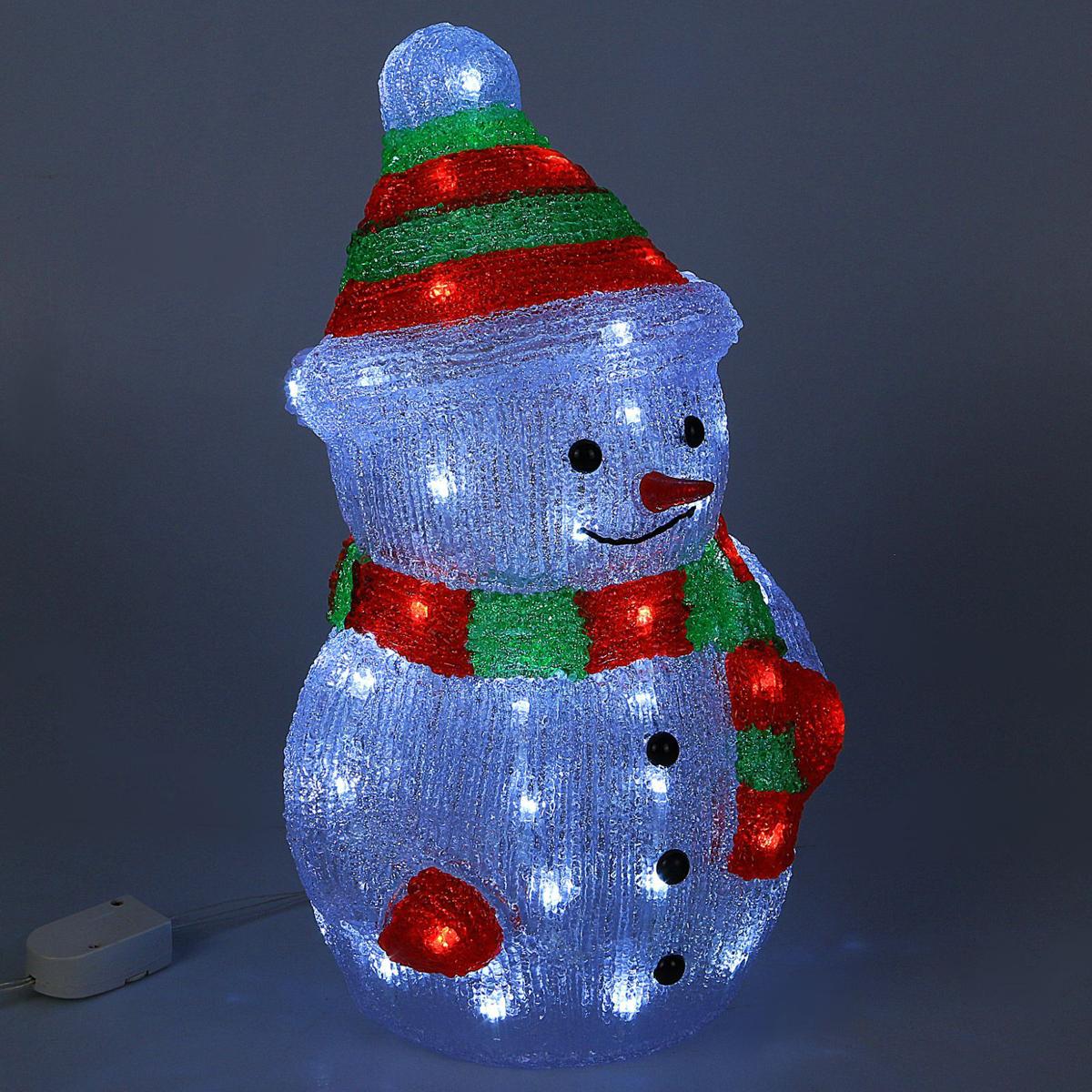 Фигурка новогодняя Luazon Снеговик, 21 х 25 х 40 см2310862Появившись относительно недавно, акриловые световые объемные фигуры быстро стали стильным и оригинальным украшением каждого праздника.Акриловые фигуры светодиодные, яркие и декоративные, эффектно выглядят в любом месте и в любой обстановке. Надувные фигуры оленей, белых медведей, экзотических птиц и новогодних персонажей прекрасно смотрятся на детских площадках, у новогодней елки, в вестибюле гостиницы, в кафе, в ресторане, у загородного дома.Изделия из акрила внешне напоминают фигуры изо льда и снега, но не зависят от погодных условий, не боятся воды и перепадов температуры. Это делает их удобными для установки на открытом воздухе, в парках, садах, на площадках.Большое количество светодиодов, современный материал (прочный акрил), оригинальность формы, простая и безопасная эксплуатация делают такие фигуры прекрасным украшением парковых зон и мест отдыха.Могут быть установлены в любом месте: и на открытом воздухе, и внутри зданий. Такие фигуры прекрасно дополняют декоративное оформление праздников, так как создают необычную атмосферу и хорошее настроение. И хотя основной период использования таких фигур новогодние дни, летом они тоже смотрятся эффектно и стильно.С того времени, как световые скульптуры из акрила впервые появились в нашей стране, они быстро стали популярными, и популярность эта продолжает расти.