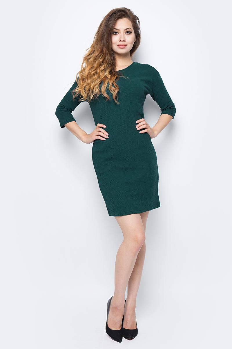 Платье Sela, цвет: зеленый. DK-117/1217-7321. Размер S (44)DK-117/1217-7321Стильное платье от Sela выполнено из хлопкового материала. Модель-кокон выше колен прямого силуэта с рукавами 3/4 на спине имеет не глубокий V-образный вырез.