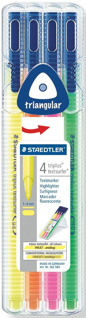 Staedtler Набор текстовыделителей Triplus Textsurfer 362 4 цвета362SB402Набор трехгранных текcтовыделителей Triplus 362 эргономичной формы. Мягкий пишущий узел для тонкого и широкого выделения. Идеальный вариант для выделения печатной продукции. Безопасно для струйных принтеров - не смазывает распечатки. Для работы на бумаге, факсовой бумаге и копиях. Неоновые чернила на водной основе, светоустойчивые. Быстро высыхает. Корпус и колпачок из полипропилена гарантируют долгий срок службы. Безопасно для самолетов - автоматическое выравнивание давления предотвращает от вытекания чернил на борту самолета. Толщина линии приблизительно 1-4 мм.
