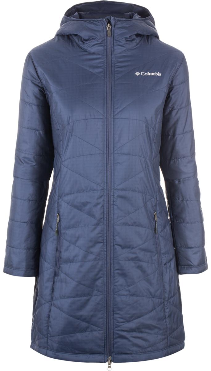 Пальто женское Columbia Mighty Lite Hooded Jacket, цвет: темно-синий. 1468771-591. Размер L (48)1468771-591Легкое утепленное женское полупальто от Columbia - идеальный выбор как для города, так и для путешествий. Утеплитель и подкладка Omni-Heat обеспечивают уникальную температурную регуляцию при максимальной легкости изделия. Капюшон, внутренние эластичные манжеты на рукавах, боковые карманы на молнии - обеспечивают дополнительной комфорт в непогоду.