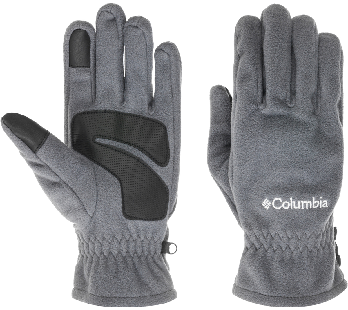 Перчатки мужские Columbia Thermarator Glove, цвет: темно-серый. 1555851-053. Размер L (9)1555851-053Флисовые перчатки идеально подойдут для активного отдыха в холодное время года. Уникальная технология Omni-Heat сохраняет собственное тепло человека, отражая его с помощью серебристых точек, а излишняя влага отводится наружу. Текстурированное укрепление ладони и пальцев в местах наибольшего трения защищают перчатки от истирания.