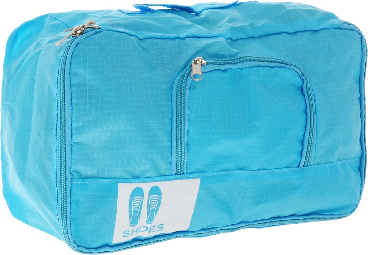 Colibri Чехол для обуви, цвет: голубой, 34 х 19 х 13 смJBB103 (BLUE)Чехол для обуви Colibri выполнен из 100% полиэстера. Изделие закрывается на молнию, спереди расположен небольшой накладной кармашек на молнии. Чехол предназначен для хранения и транспортировки обуви. Компактный и удобный чехол не займет много места в чемодане. Для переноски предусмотрена ручка.