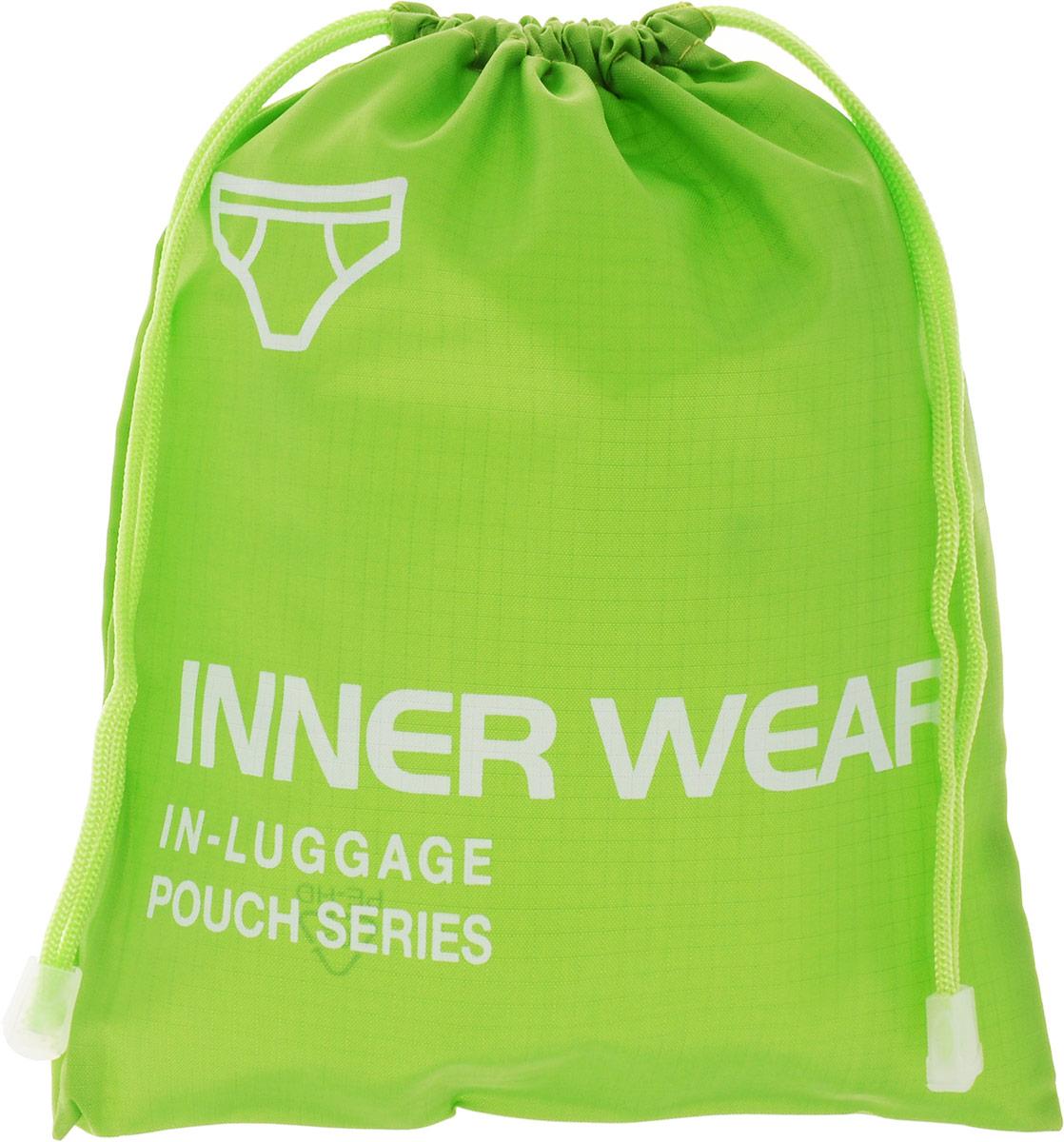 Colibri Чехол для нижнего белья, цвет: зеленый, 21 х 26,5 смCW5720 (GREEN)Чехол для нижнего белья Colibri выполнен из 100% полиэстера. Изделие снабжено затягивающимся шнурком на кулиске. Чехол предназначен для хранения и транспортировки нижнего белья, благодаря небольшим размерам не займет много места у вас в чемодане. Изделие дополнено надписью: Inner Wear In-Luggage Pouch Series.
