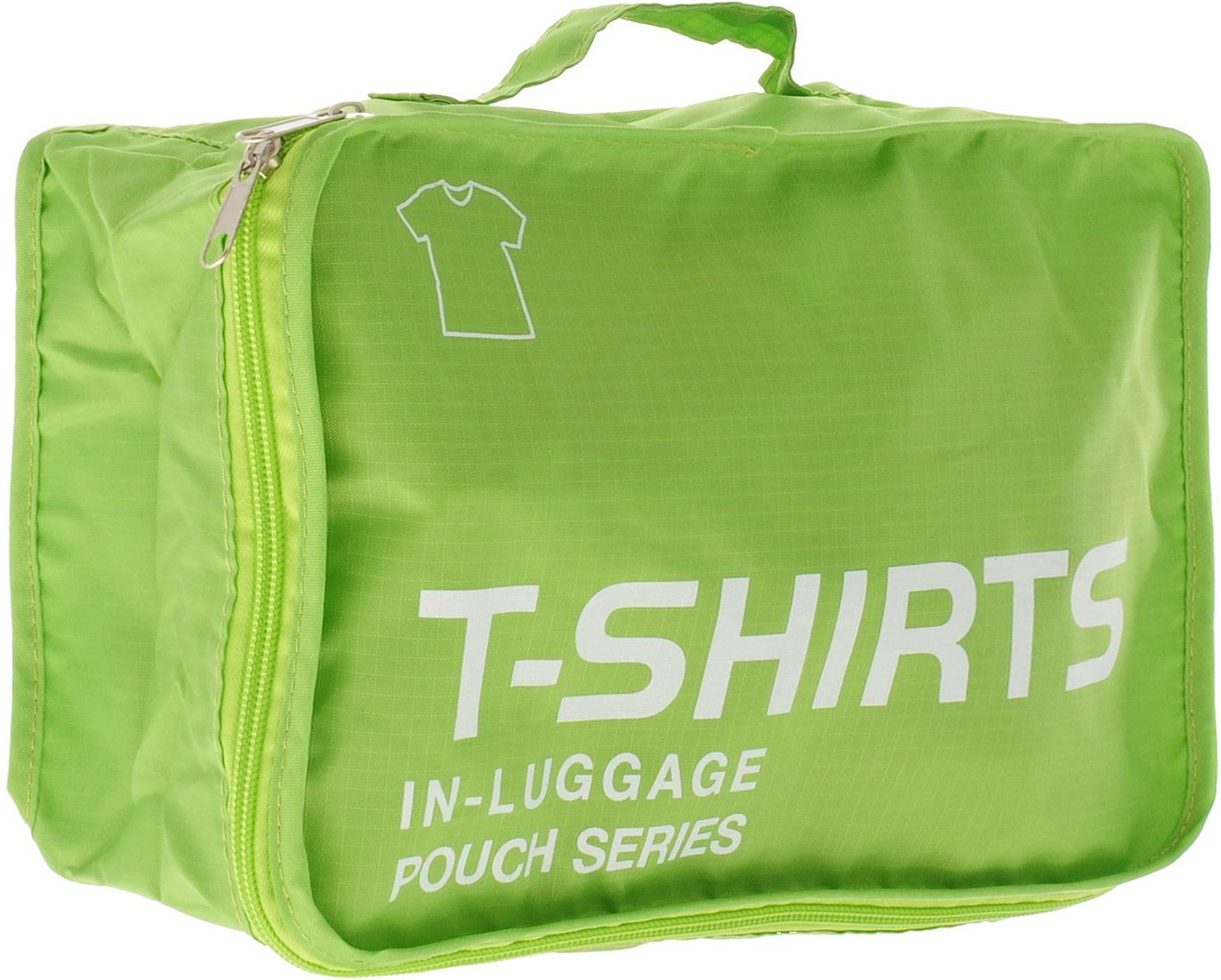 Colibri Чехол для одежды, цвет: зеленый, 31 х 21 х 12 смCW5760 (GREEN)Чехол для одежды Colibri выполнен из 100% полиэстера. Закрывается на молнию. Изделие предназначено для хранения и транспортировки одежды: футболок, нижнего белья. Благодаря небольшим размерам не займет много места у вас в чемодане. Для переноски предусмотрена ручка. Верх дополнен надписью: T-Shirts In Luggage Pouch Series.