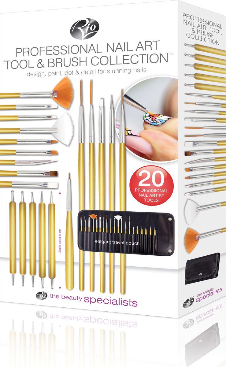 RIO Профессиональный набор для маникюра и педикюра (20 предметов + чехол) NABC0003957Профессиональный набор кистей и инструмента для декоративного маникюра и педикюра Rio, модель NABC состоит из:-кисти 14 шт (деревянные ручки с синтетической щетиной)-Инструмент для тиснения 1 шт-Инструмент для дизайна ногтей (дотс) 5 шт-Фирменный чехол для хранения 1 шт -Инструкция на русском языке 1 шт Данный профессиональный набор предназначен для самостоятельного домашнего использования и для салонов красоты. Теперь вы легко сможете сами экспериментировать с дизайном маникюра и педикюра у себя дома! В состав набора входит: 1.Плоская кисть 2.Изогнутая точечная кисть 3.Маленькая плоская кисть 4.Кисть для нанесения блесток 5.Скошенная плоская кисть 6.Большая плоская кисть 7.Кисть лепесток (для деталей) 8.Кисть короткий волосок 9.Инструмент для тиснения 10.Маленькая скошенная кисть 11.Тонкая веерная кисть 12.Оттеночная кисть 13.Большая длинная кисть 14.Кисть длинный волосок 15.Тонкая точечная кисть 16.Большой дотс 17.Средний дотс 18.Маленький дотс 19.Дотс для деталей 10.Микро дотсКак ухаживать за ногтями: советы эксперта. Статья OZON Гид