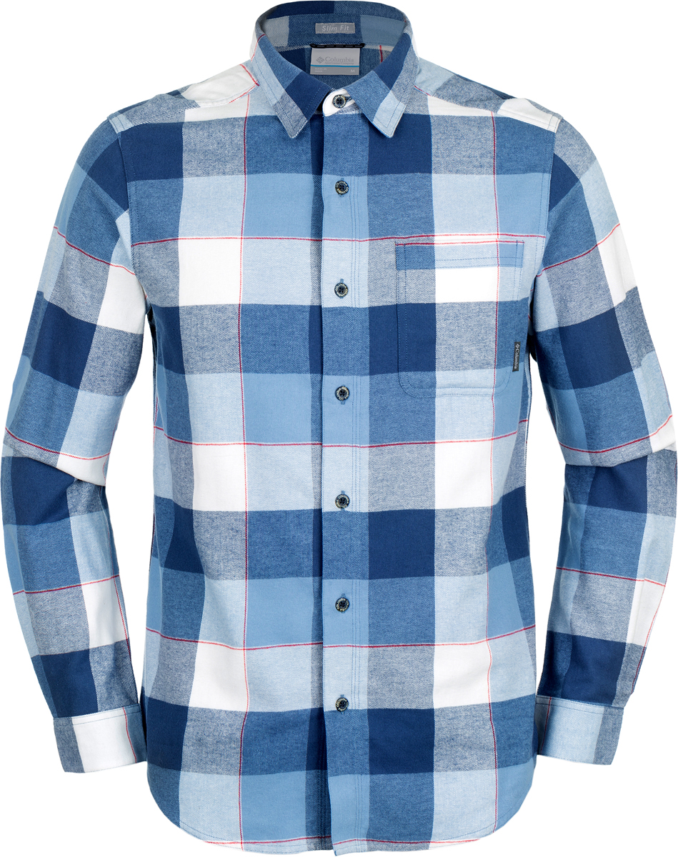 Рубашка мужская Columbia Boulder Ridge Ls Flannel Shirt, цвет: синий. 1735502-411. Размер XXL (56/58) рубашка мужская columbia silver ridge ss shirt цвет бежевый 1441661 265 размер l 48 50