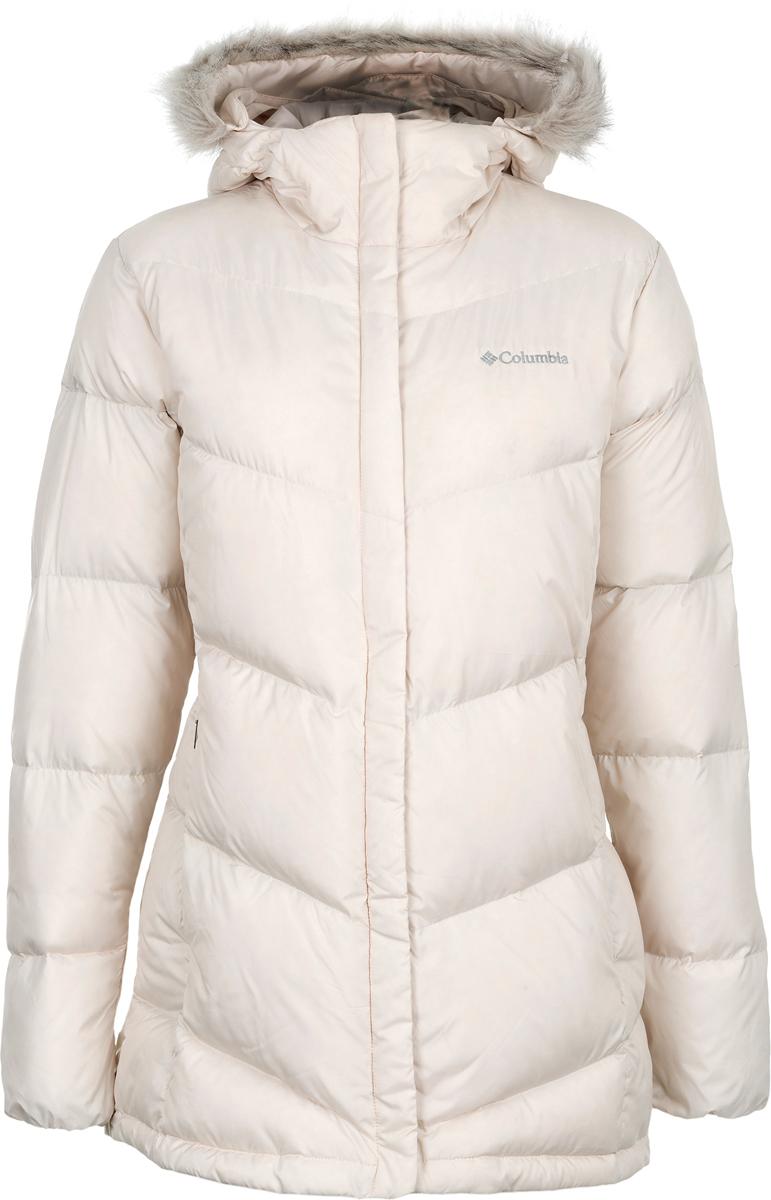 Пуховик женский Columbia Shelldrake Point Down Jacket W, цвет: белый. 1737071-191. Размер L (48)1737071-191Женская пуховая куртка для повседневной носки в холодную погоду. Водоотталкивающая пропитка защищает изделие от грязи, легкого дождя и снега. Пуховик застегивается на молнию. Модель дополнена капюшоном и врезными карманами.
