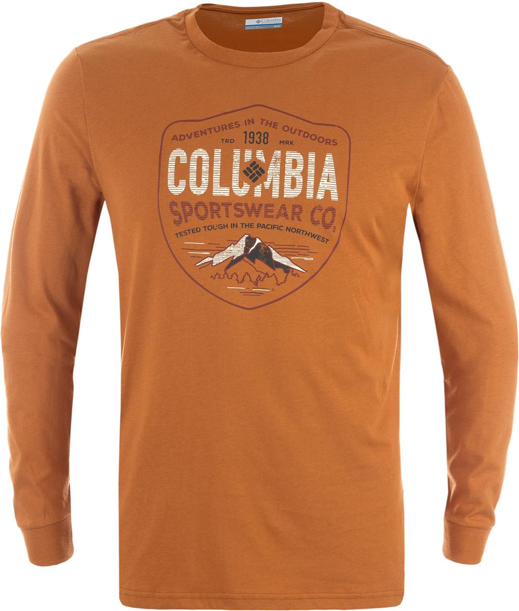 Лонгслив мужской Columbia Rugged Shield Ls M T-Shirt, цвет: коричневый. 1739411-708. Размер S (44/46)1739411-708Мужской лонгслив Rugged Shield от Columbia, выполненный из натуральных тканей прекрасно дополнит гардероб. Модель прямого кроя с длинными рукавами и круглым вырезом горловины. Спереди изделие оформлено принтом с названием бренда.