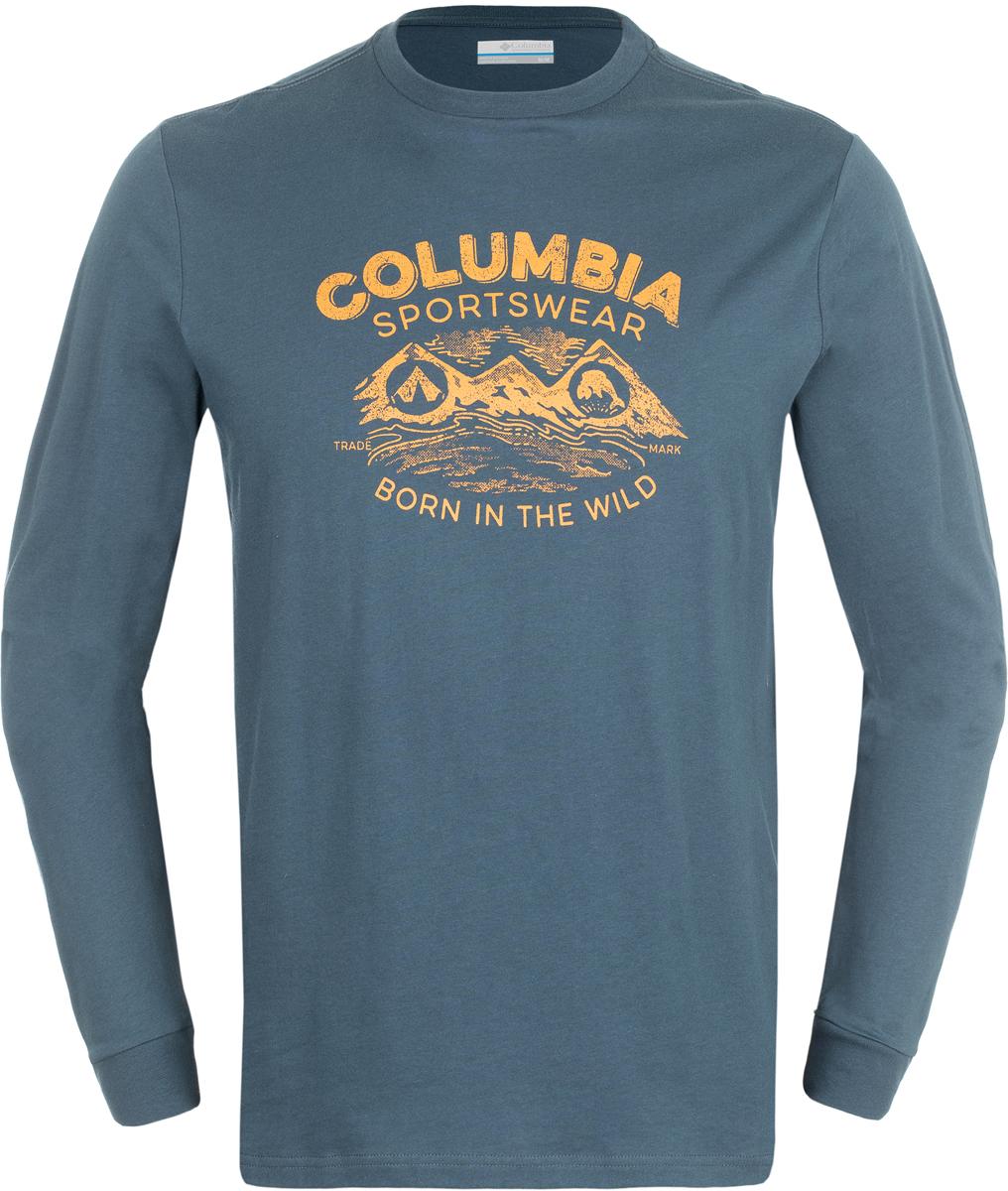 Лонгслив мужской Columbia Born In The Wild Ls M T-Shirt, цвет: темно-синий. 1739421-435. Размер S (44/46)1739421-435Мужской лонгслив от Columbia, выполненный из натуральных тканей прекрасно дополнит гардероб. Модель с длинными рукавами и круглым вырезом горловины оформлена текстовым принтом.