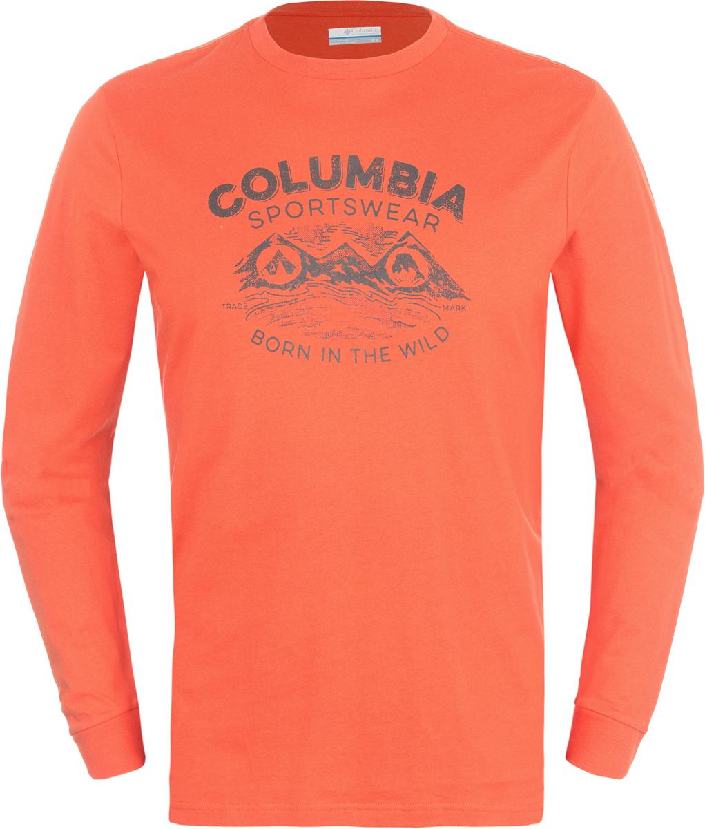 Лонгслив мужской Columbia Born In The Wild Ls M T-Shirt, цвет: оранжевый. 1739421-834. Размер XL (52/54)1739421-834Мужской лонгслив от Columbia, выполненный из натуральных тканей прекрасно дополнит гардероб. Модель с длинными рукавами и круглым вырезом горловины оформлена текстовым принтом.