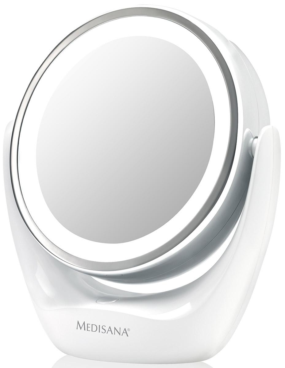 Medisana Зеркало косметическое CM 83540820252 поворотных зеркала: обычное и с 5 кратным увеличением. Подсветка по контуру зеркала. Диаметр зеркала 12 см.Высококачественный материал - пластик, хромированные части. Устойчивая подставка-основание.Подсветка работает от 3 батареек типа ААА (входят в комплект).