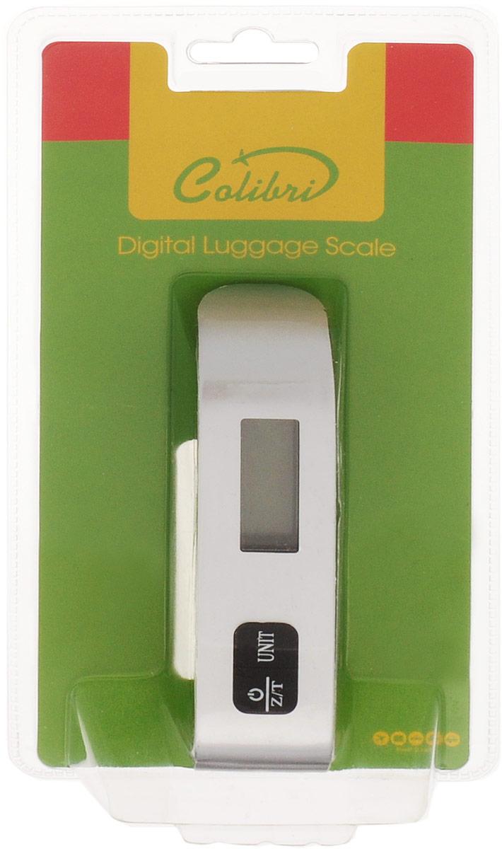Электронные весы для багажа Colibri станут полезным приобретением для любого путешественника. Корпус весов выполнен из пластика и снабжен цифровым дисплеем. На лицевой стороне расположена кнопка включения. Весы снабжены прочным стальным крюком с ремешком, который крепится к багажу. Максимальная нагрузка 50 кг. Необходима батарейка (в комплекте).