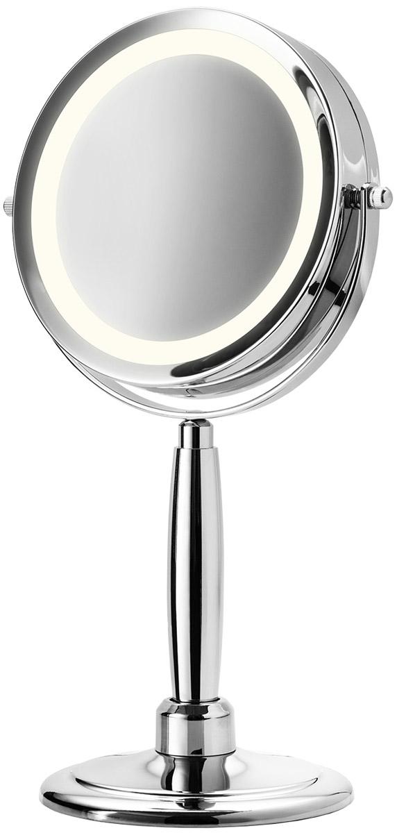 Medisana Зеркало косметическое CM 84540820262 поворотных зеркала: обычное и с 5 кратным увеличениемПодсветка по контуру зеркала Диаметр зеркала 13 смВысококачественный материал, хромированные частиВ комплекте: кронштейн на стену, подставка, батарейки, крепления для размещения зеркала на стене