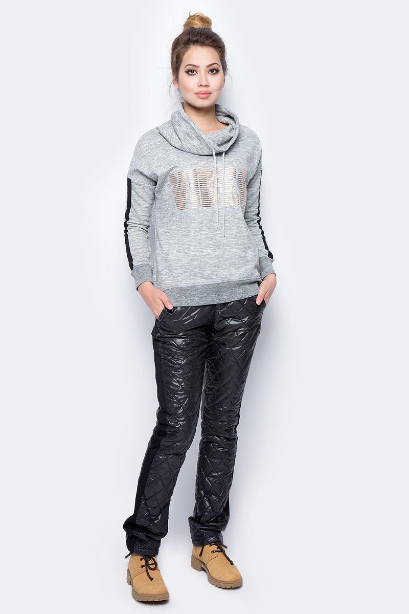 все цены на Толстовка женская Sela, цвет: серый меланж. St-113/031-7351. Размер XS (42) онлайн