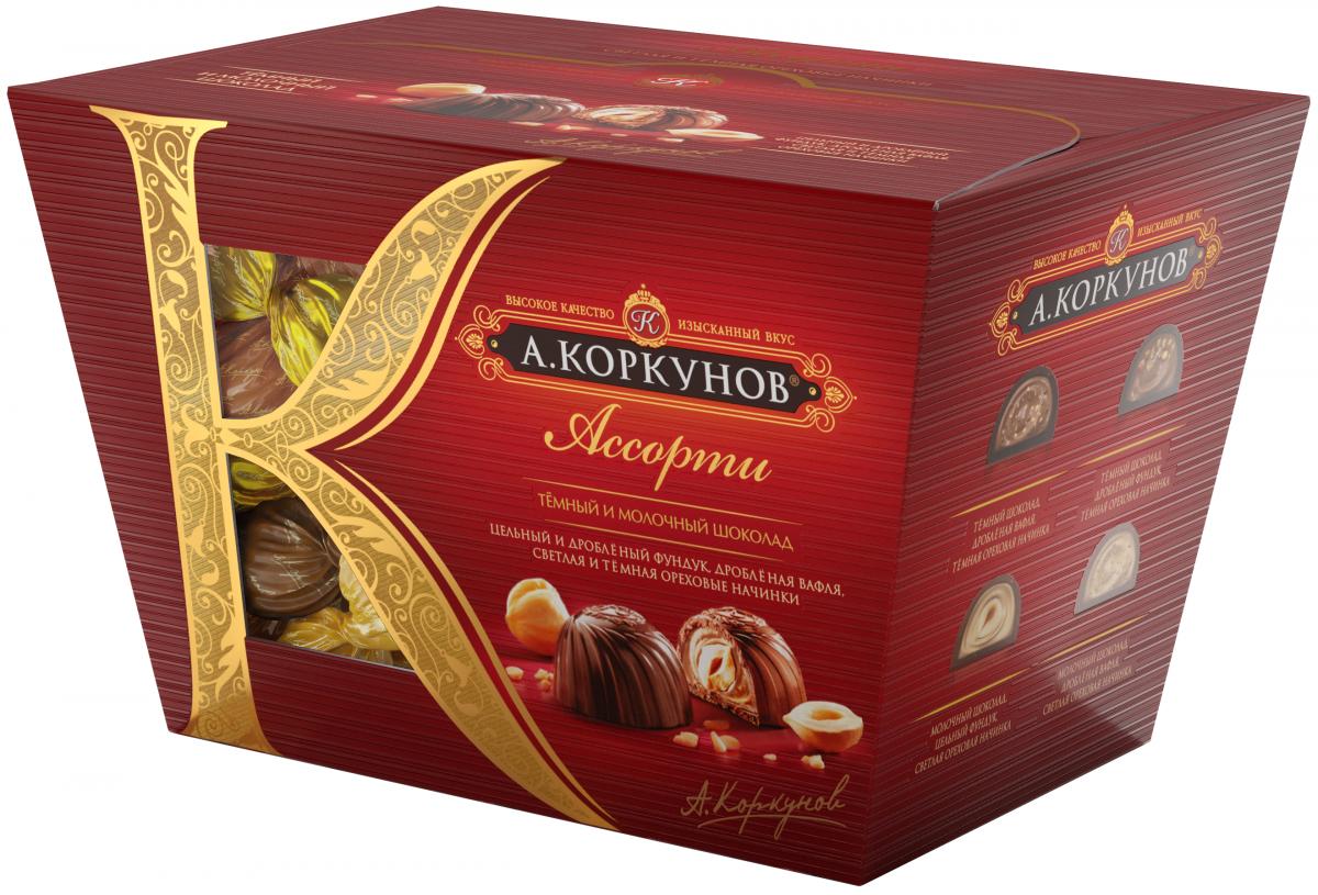 А.Коркунов Ассорти конфеты темный и молочный шоколад, 137 г lindt lindor шоколадные конфеты ассорти 100 г
