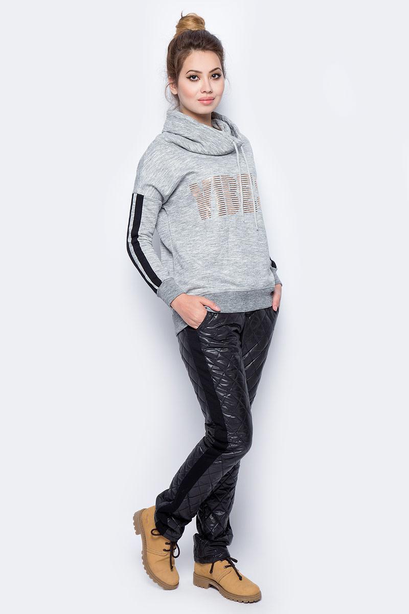 Брюки утепленные женские Sela, цвет: черный. Pp-125/106-7381. Размер S (44)Pp-125/106-7381Женские утепленные брюки от Sela выполнены из комбинированного материала. Модель на талии имеет широкую эластичную резинку, по бокам дополнена втачными карманами.