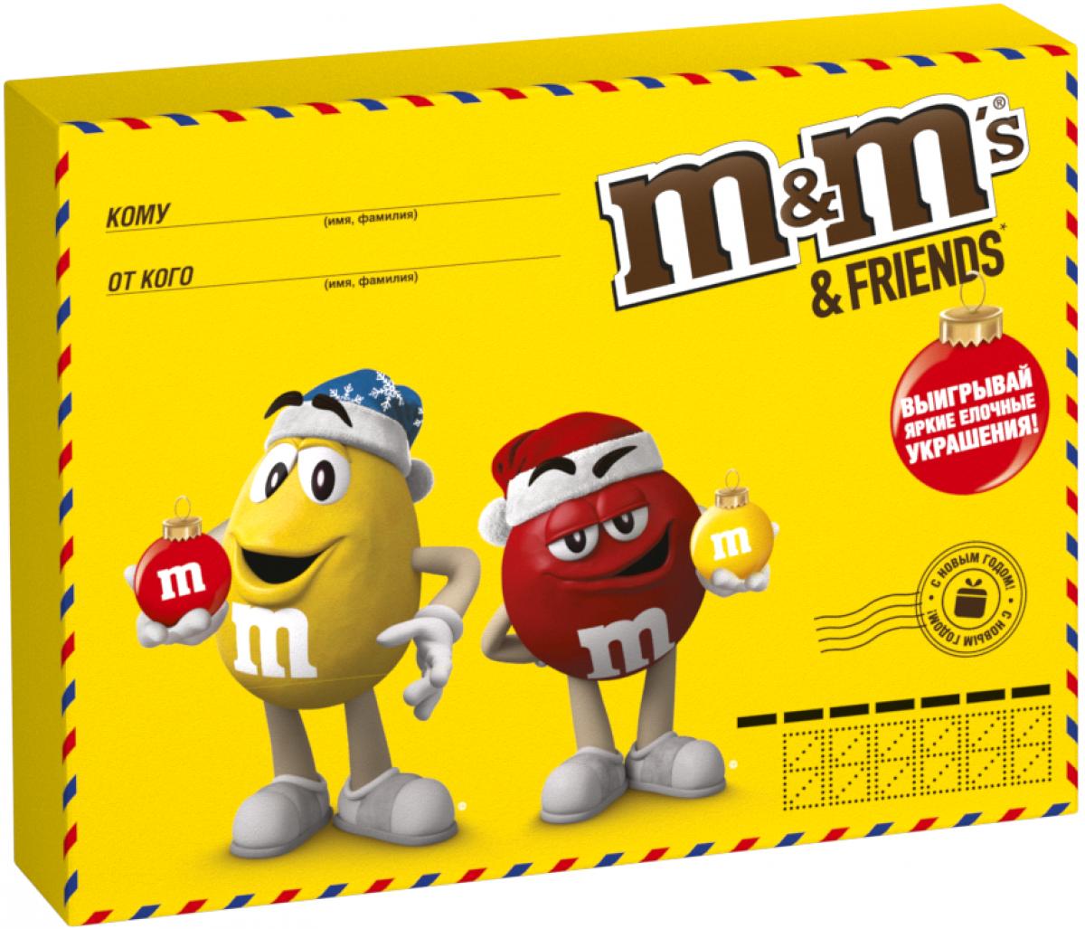 M&Ms and Friends Почта подарочный набор кондитерских изделий, 260 г4607065379964Новогодний набор M&Ms и Друзья - отличный подарок для родных, близких, детей и коллег! В наборе - только самые известные и любимые шоколадные батончики, конфеты и драже: Сникерс, Твикс, Баунти и, кончено же, M&Ms! Яркая упаковка дополняет этот