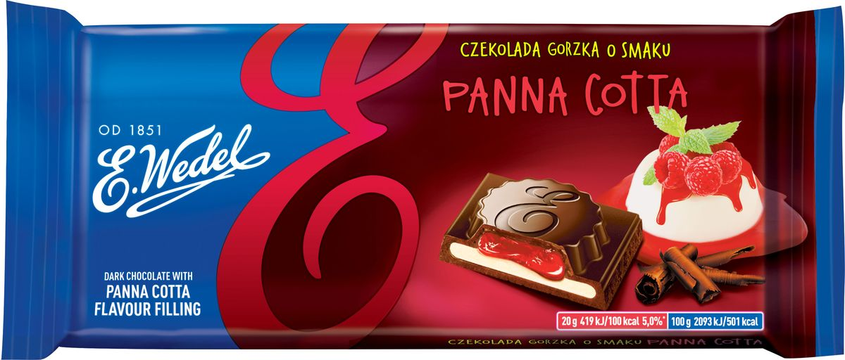 E.Wedel панакота тёмный шоколад, 100 г7.22.05Если вы ищите легкий и изысканный десерт, то темный шоколад с панакотой подходит для вас более всего. Этот шоколад представляет собой отличный вариант для создания праздничного настроения!