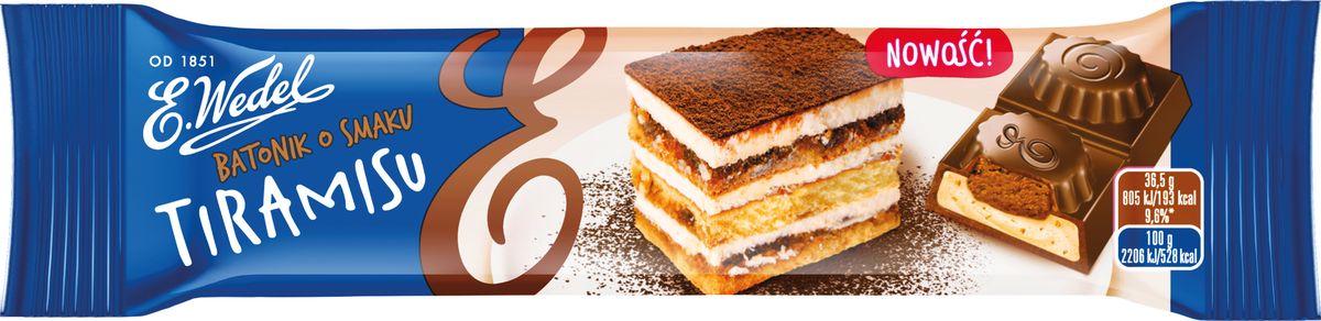 E.Wedel шоколадный батончик с начинкой тирамису , 36,5 г7.22.11Нежный, легко тающий шоколад с кремовой начинкой. Наполнитель, по текстуре напоминающий помадку, раскрывается приятными сливочно-кофейными тонами, характерными для популярного итальянского десерта тирамису.