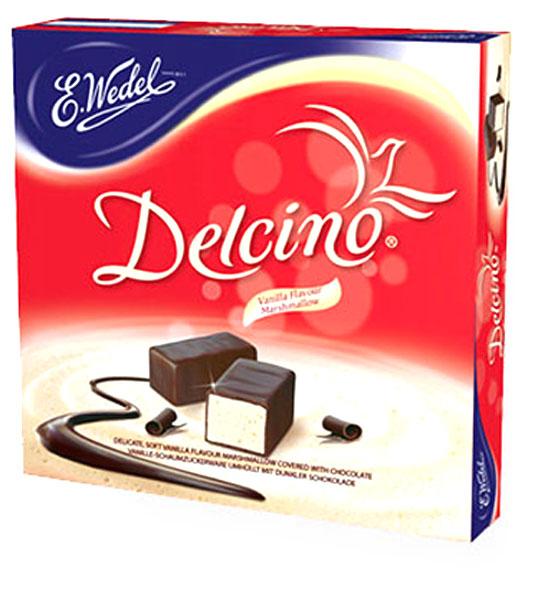 E.Wedel Delcino маршмеллоу в темном шоколаде, 190 г шармэль зефир классический в шоколаде новогоднее оформление 250 г