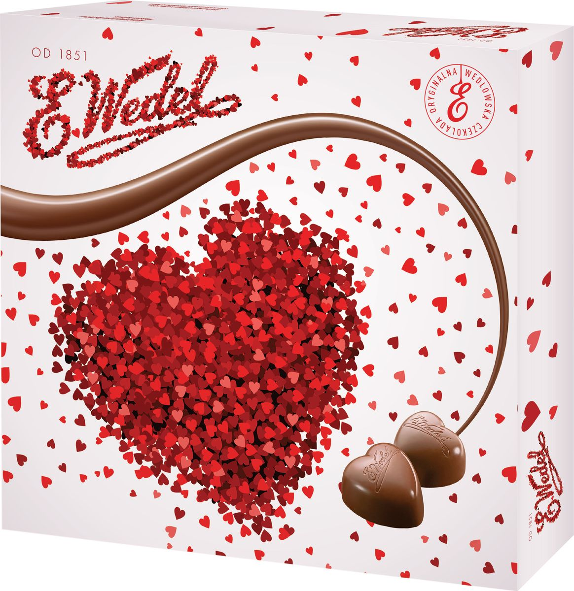 E.Wedel Сердце шоколадные конфеты с двухслойной карамельной начинкой, 117 г7.22.24Шоколадные конфеты выполнены в виде оригинальных сердечек и отличаются сочетанием разных видов начинок, специально подобранных друг к другу, гармонично сочетающихся и дополняющих друг друга.