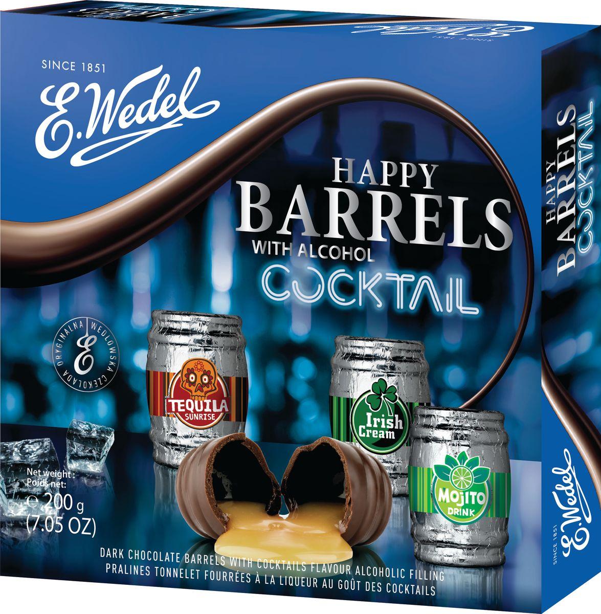 E.Wedel Happy Barrels With Alcohol ассорти шоколадных конфет с коктейльными начинкой, 200 г7.22.27Шоколадные конфеты с алкогольной начинкой в виде бочонков.Тёмный шоколад с ликёром- Advocat ( яичный) , Сocao ( шоколадный), Chery (вишневый), Au lait -Темный шоколад с алкогольной начинкой Коктейли-.Mojito, Tequila Sunrise, Irish Cream