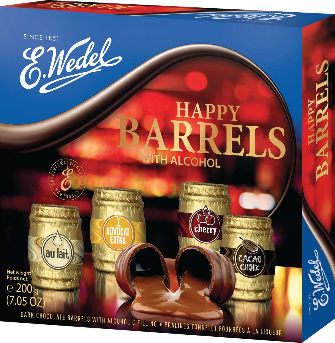 E.Wedel Happy Barrels With Alcohol Coctail ассорти шоколадных конфет с ликёрной начинкой, 200 г7.22.28Конфеты приготовлены по традиционным рецептам из темного и молочного шоколада с начинкой из ликера. Каждая конфета индивидуально упакована в разноцветную фольгу с эмблемой соответствующего элитного напитка.