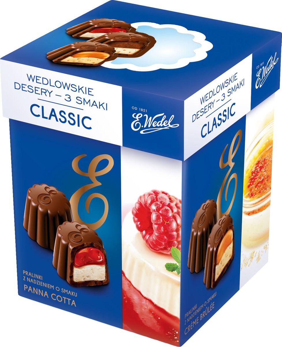E.Wedel Classic ассорти шоколадных конфет, 192 г7.22.29Ассорти самых популярных вкусов конфет из темного шоколада с начинками панакота, крем брюле и тирамису.