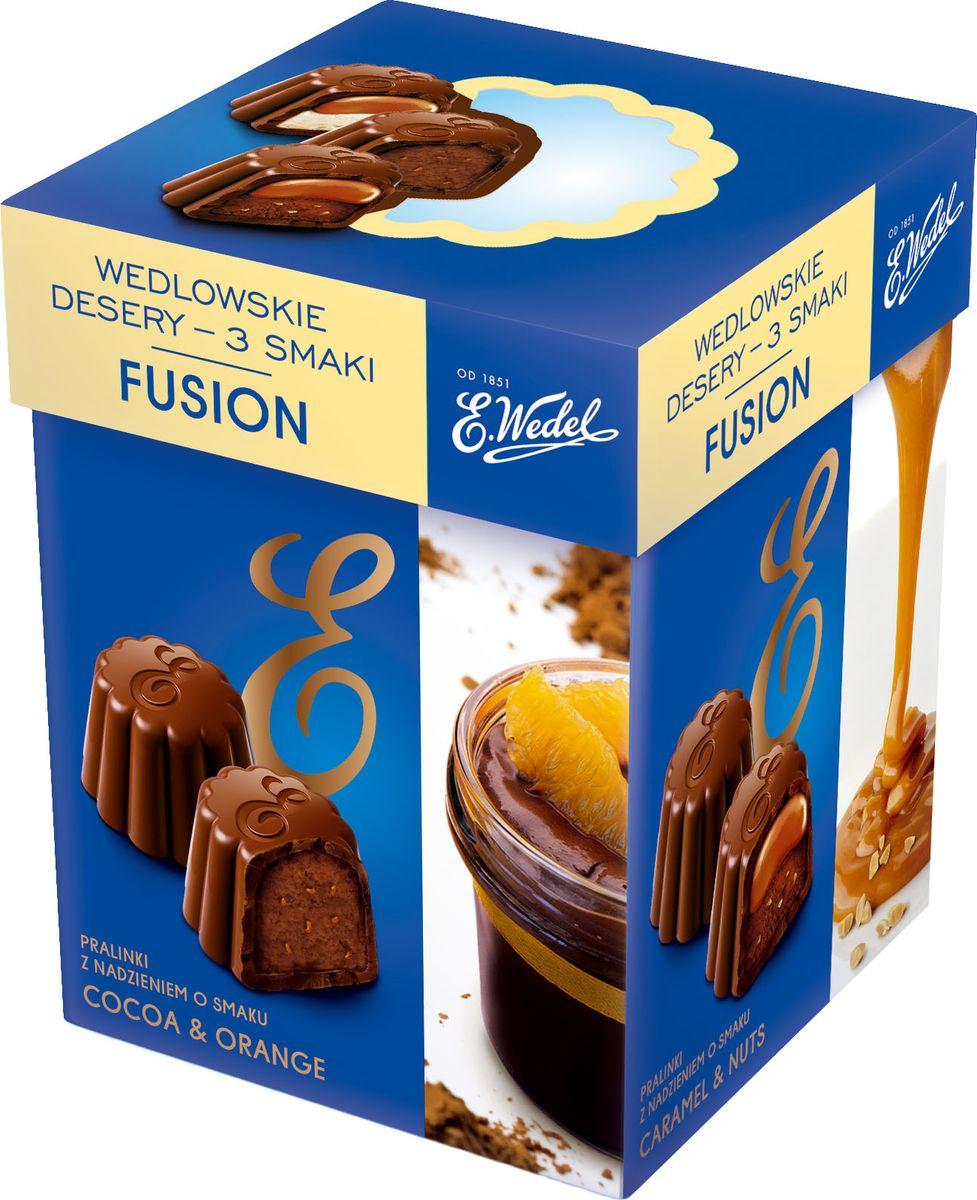 E.Wedel Fusion ассорти шоколадных конфет, 192 г7.22.30Ассорти представлено конфетами с тремя видами начинок: каймака, какао и апельсина, карамели и ореха в молочном шоколаде с содержанием какао не менее 52% . Без преувеличения лакомство станет украшением праздничного стола и доставит немало удовольствия вашим гостям.