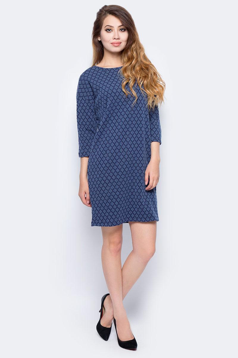 Платье Sela, цвет: синий. DK-117/1219-7321. Размер M (46) платье sela цвет серый меланж dk 117 1175 7413 размер m 46