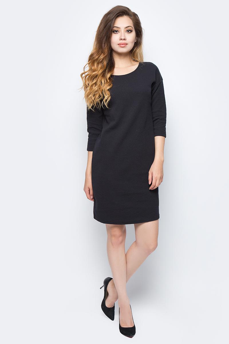 Платье Sela, цвет: черный. DK-117/1217-7321. Размер S (44)DK-117/1217-7321Стильное платье от Sela выполнено из хлопкового материала. Модель-кокон выше колен прямого силуэта с рукавами 3/4 на спине имеет не глубокий V-образный вырез.