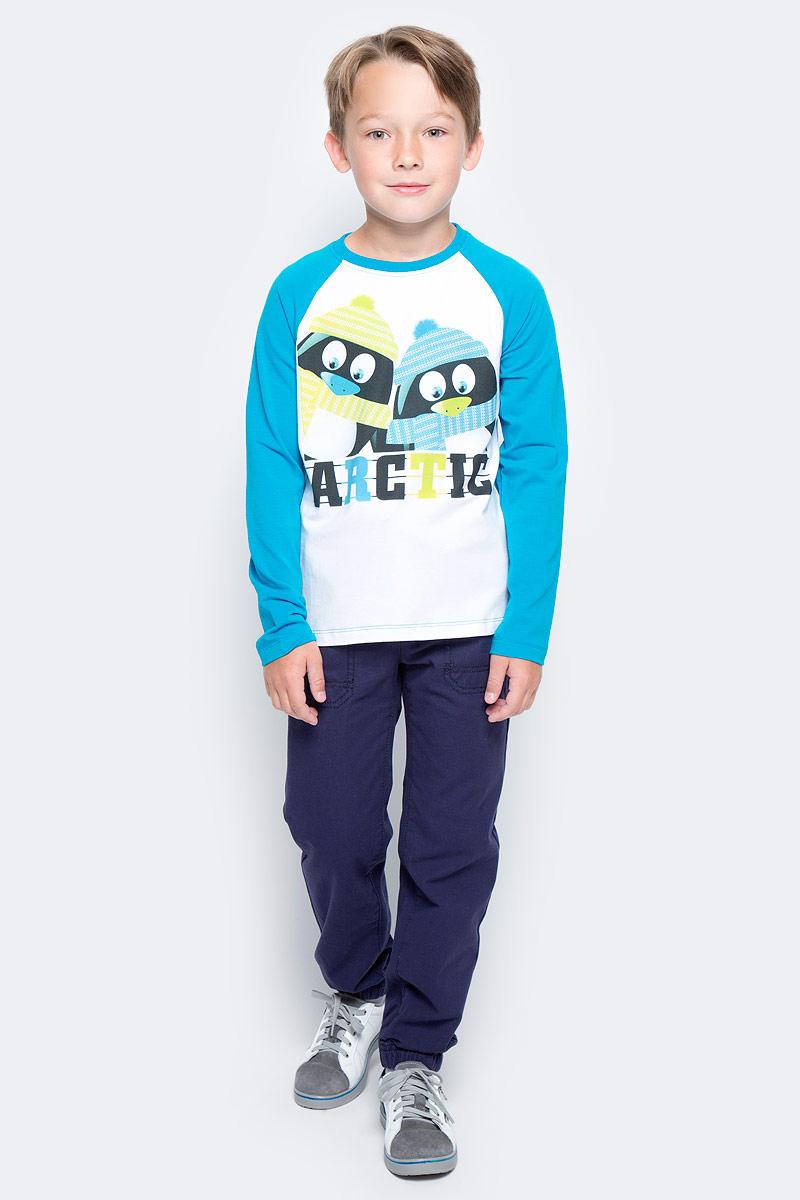 Футболка с длинным рукавом для мальчика PlayToday, цвет: голубой, белый. 371114. Размер 128371114Футболка PlayToday выполнена из эластичного хлопка. Модель с длинными рукавами и круглым вырезом горловины оформлена принтом.