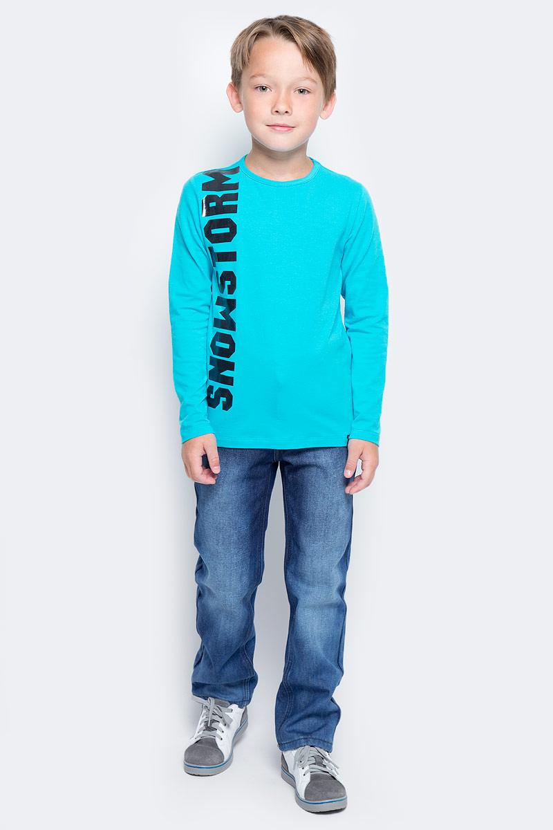 Футболка с длинным рукавом для мальчика PlayToday, цвет: голубой. 371117. Размер 110371117Футболка PlayToday выполнена из эластичного хлопка. Модель с длинными рукавами и круглым вырезом горловины.