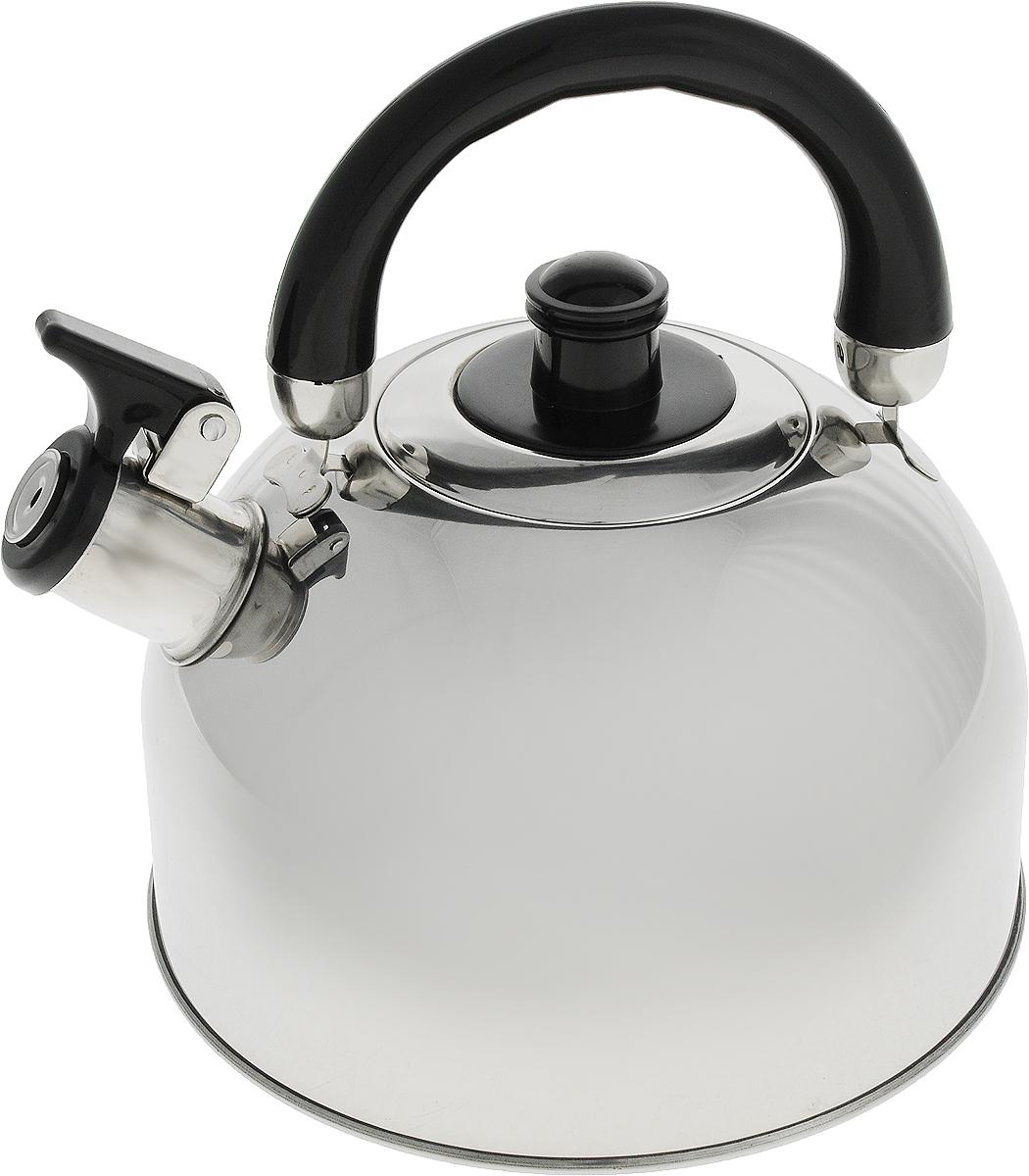 Чайник Travola, со свистком, 2,5 л. HSK-004.001HSK-004.001Чайник Travola выполнен из высококачественной нержавеющей стали, что делает его весьма гигиеничным и устойчивым к износу при длительном использовании. Носик чайника оснащен насадкой-свистком, что позволит вам контролировать процесс подогрева или кипячения воды. Чайник снабжен стальной крышкой и эргономичной бакелитовой ручкой.Эстетичный и функциональный чайник будет оригинально смотреться в любом интерьере.Подходит для всех типов плит, включая индукционные. Высота чайника (с учетом ручки и крышки): 21 см.Диаметр чайника (по верхнему краю): 9 см.Диаметр индукционного дна: 19 см.