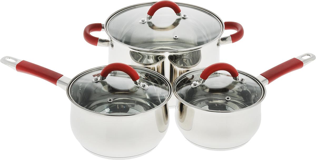Набор посуды Travola, 6 предметов00122401Набор посуды Travola состоит из кастрюли, двух ковшей и 3 крышек. Изделия выполнены из высококачественной нержавеющей стали с зеркальной полировкой. Этот набор посуды предназначен для здорового и экологичного приготовления пищи. Кастрюля и ковши имеют энергосберегающее дно с алюминиевым основанием, которое быстро и равномерно накапливает тепло и также равномерно передает его пище. Внутренняя поверхность идеально ровная, что значительно облегчает мытье. Крышки, выполненные из термостойкого стекла, имеют отверстие для пара и металлический обод. Крышки плотно прилегают к краям посуды, предотвращая проливание жидкости и сохраняя аромат блюд. Также изделия снабжены эргономичными ручками из стали с силиконовыми вставками. Можно использовать на всех типах плит, включая индукционные. Объем кастрюли: 6,5 л.Диаметр кастрюли: 24.Высота стенки кастрюли: 14,5. Объем ковшей: 1,9 л; 2,6 л.Диаметр ковшей: 16 см; 18 см.Высота стенки ковшей: 9,5 см; 10,5 см.