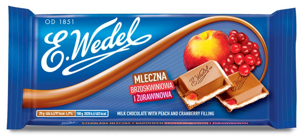 E.Wedel молочный шоколад с фруктовой начинкой персик - клюква, 100 г e wedel молочный шоколад с фруктовой начинкой черника земляника 100 г