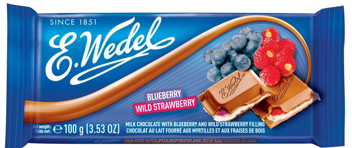 E.Wedel молочный шоколад с фруктовой начинкой черника - земляника, 100 г7.22.03Молочный шоколад с необычной начинкой в виде дуэта черники и земляники - уже успел найти своих поклонников. Содержит не менее 29% какао-продуктов.