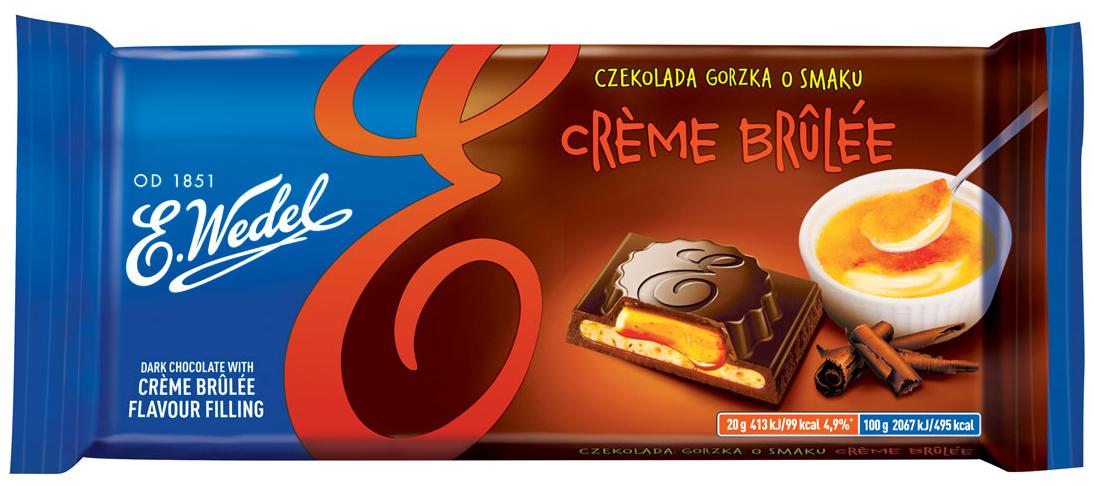 E.Wedel тёмный шоколад крем-брюле, 100 г7.22.04Молочный шоколад с необычной начинкой Крем-Брюле . Хорошее лакомство для настоящих сладкоежек.