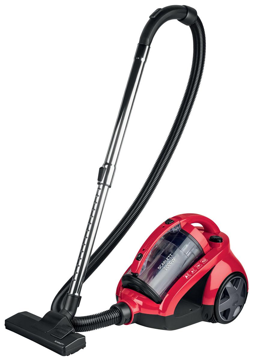 Scarlett SC-VC80C85, Red пылесосSC-VC80C85Пылесос Scarlett SC-VC80C85Яркий, современный, технологичный пылесос с системой очистки «мультициклон», набором насадок для разных поверхностей поможет сделать Ваш дом идеально чистым и комфортным.Система очистки «MultiCyclone»Система очистки «MultiCyclone» создает в пылесосе поток воздуха, который разбивается на несколько потоков, за счет сепараторов (циклонов). В циклонах поток воздуха очищается от пыли благодаря центробежной силе. Такая система очищает от пыли очень тщательно, не позволяя даже мельчайшим частицам попадать обратно в воздух. Благодаря этому, данный пылесос хорошо подходит потребителям страдающим аллергией. Система очистки «MultiCyclone» работает без потери мощности, тем самым не теряя силу всасывания на протяжении всей уборки, это позволяет очищать поверхности еще эффективнее и быстрее.Контейнер для сбора пылиПылесос работает без мешков для сбора пыли. Вся пыль оседает в контейнере благодаря вихревой системе очистки. Контейнер для сбора пыли открывается одним нажатием кнопки и его можно промывать водой, что делает уборку в несколько раз проще, удобнее и гигиеничнее. Вместимость контейнера составляет 2 литра, что позволяет очищать большие помещения без промежуточной чистки контейнера.ФильтрФильтр – легко моется и рассчитан на весь срок службы прибора, что позволяет сэкономить бюджет и не тратить много времени на очистку. Фильтр удаляет до 99.9% пыли, чем обеспечивает чистоту воздуха в Вашем доме.НасадкиКомбинированная насадка «пол/ковер», насадка для мебели и щелевая насадка позволяют провести уборку даже в труднодоступных местах.Кнопки управленияУдобные кнопки включения/выключения прибора позволяют легко управлять пылесосом даже ногой. Функция автосматывания шнура позволяет легко управлять как регулировкой нужной длины шнура, так и процессом уборки в целом.РучкаДля удобства переноски на корпусе пылесоса предусмотрена ручка.Стальная телескопическая трубкаТрубка пылесоса имеет облегченную контрукцию, и может 