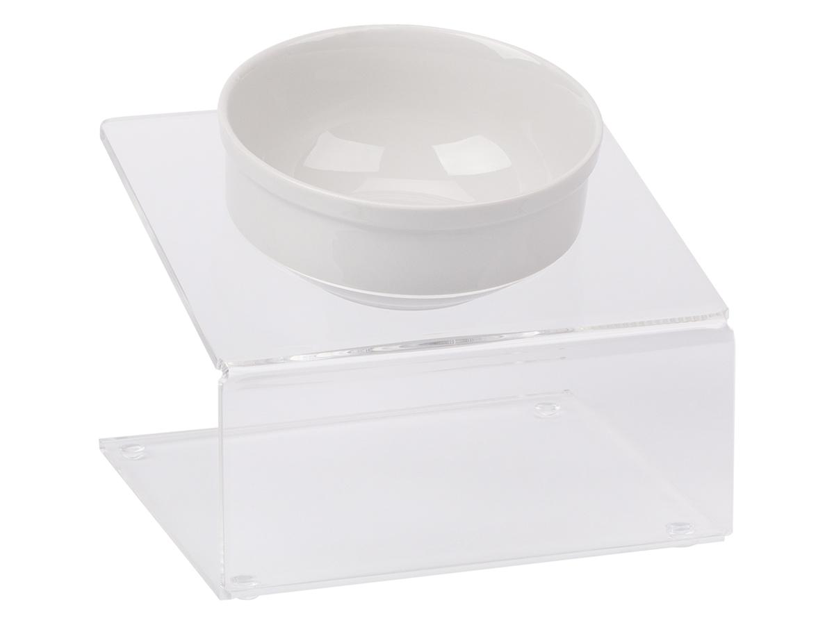 Миска для животныx  Artmiska , одинарная, на подставке, цвет: прозрачный, 1 x 350 мл