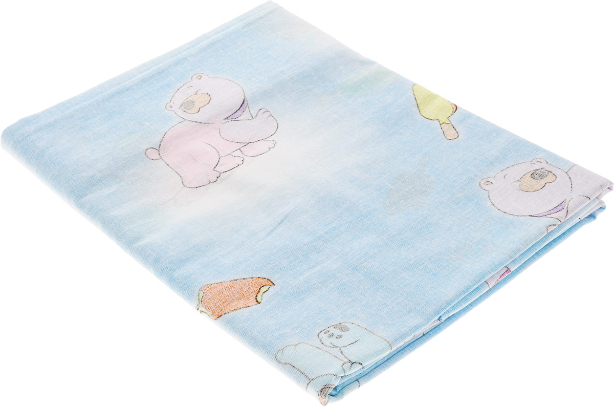 Фея Пододеяльник детский Мишки цвет голубой 110 х 140 см0001054-1_мишки, мороженое_голубойДетский пододеяльник Фея Мишки идеально подойдет для одеяла вашего малыша. Изготовленный из 100% хлопка, он необычайно мягкий и приятный на ощупь, позволяет коже дышать. Натуральный материал не раздражает даже самую нежную и чувствительную кожу ребенка, обеспечивая ему наибольший комфорт. Приятный рисунок пододеяльника понравится малышу и привлечет его внимание. Под одеялом с таким пододеяльником кроха будет спать здоровым и крепким сном.