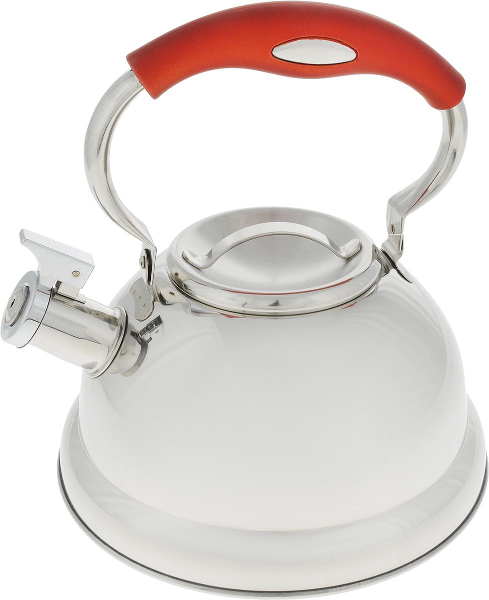 Чайник  Travola , со свистком, цвет: серый, красный, 2,5 л - Посуда для приготовления