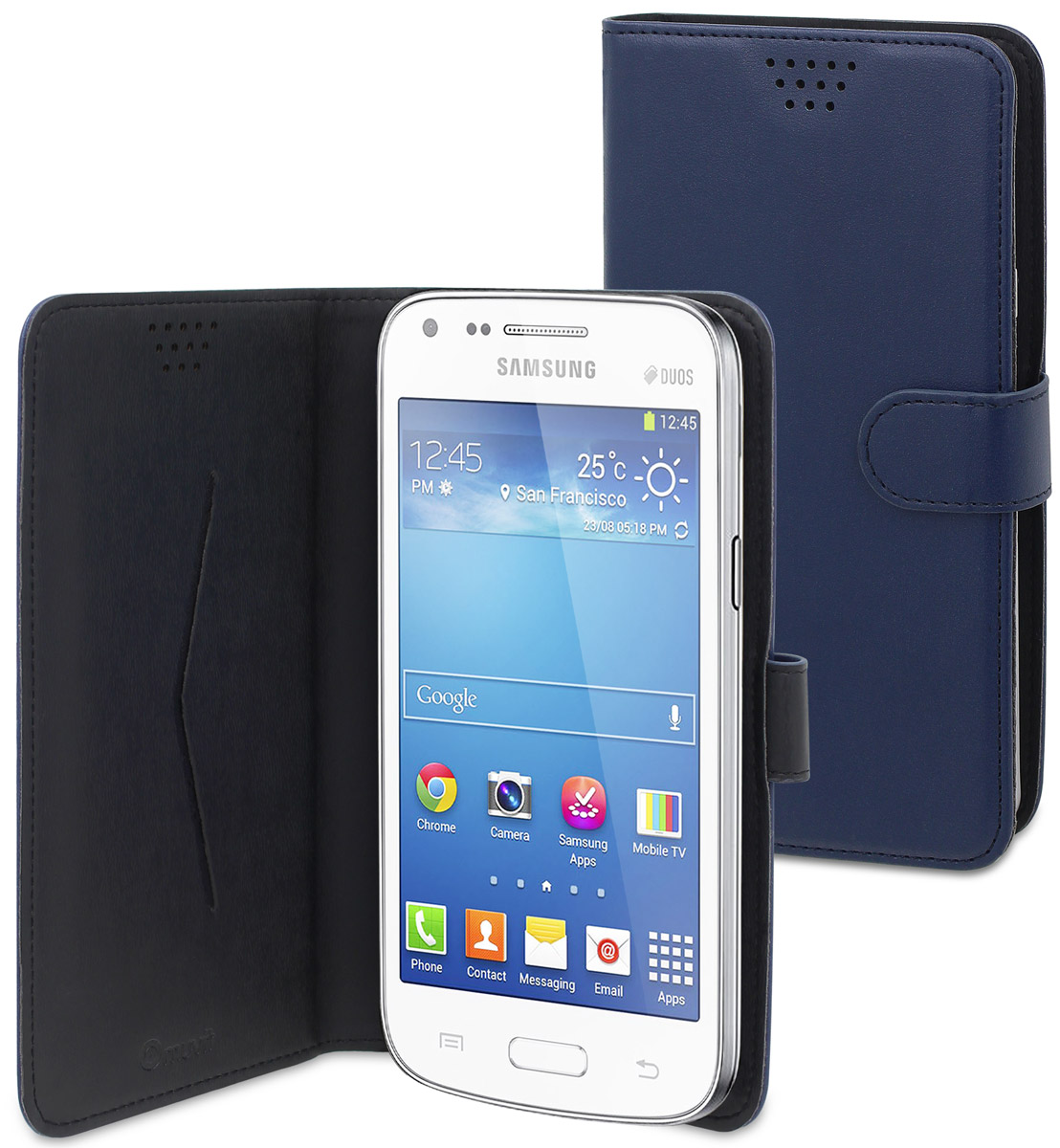Muvit универсальный чехол для смартфонов 5,7, BlueMUCUN0285Универсальный чехол-книжка Muvit предназначен для защиты корпуса и экрана смартфона диагональю 5,7 от механических повреждений и царапин в процессе эксплуатации. Имеется свободный доступ ко всем разъемам и кнопкам устройства. Надежная фиксирующая смартфон внутренняя поверхность. Подходит для смартфонов с любым расположением камеры. Имеет специальный карман для пластиковых карт. На внутренней стороне чехла есть специальная площадка, которая позволяет вращать ваш телефон на 360°.